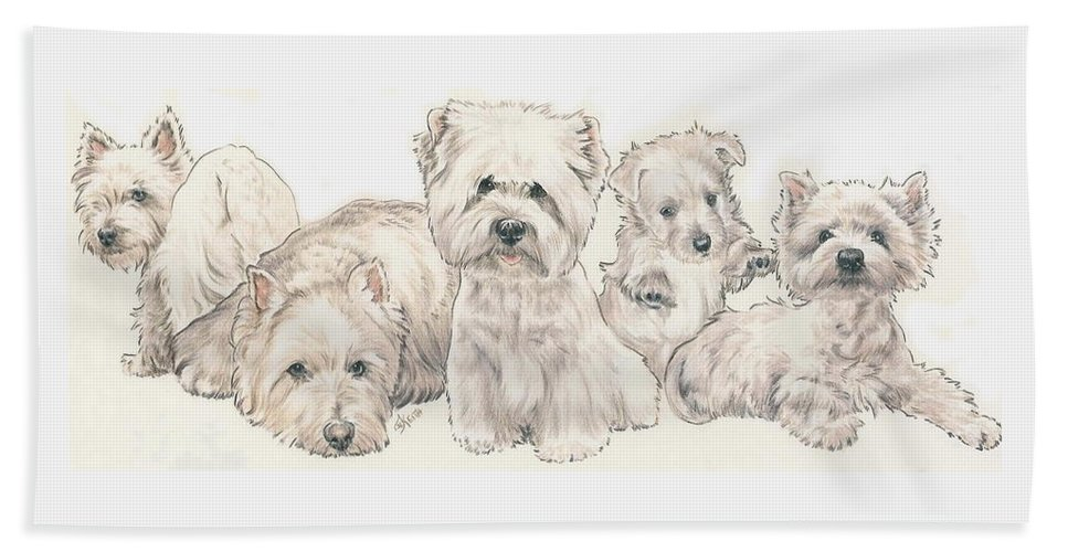 Terrier Group Bath Sheet featuring the mixed media West Highland White Terrier Puppies by Barbara Keith