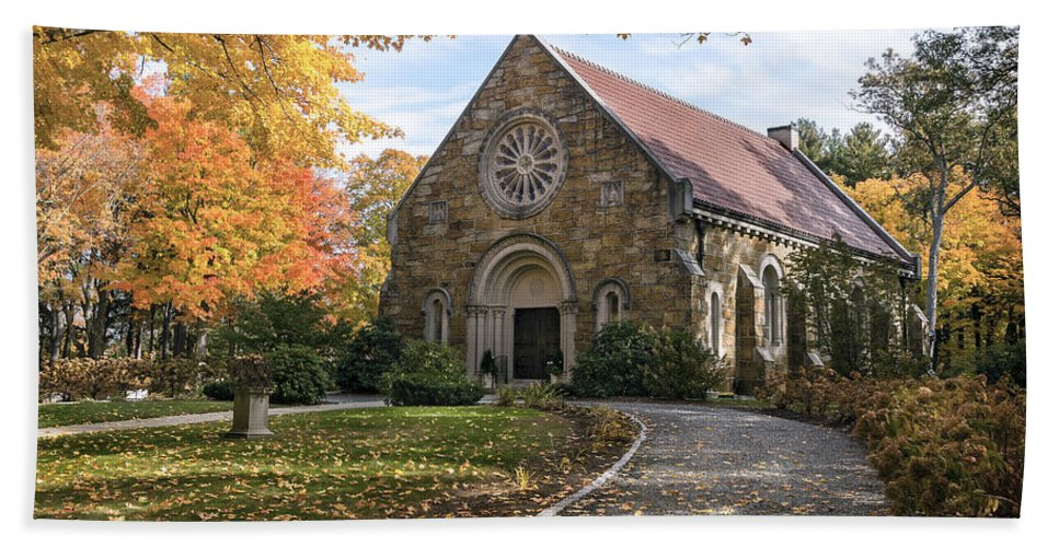 West Bath Sheet featuring the photograph West Parish Chapel In Fall, Andover, Ma by Betty Denise
