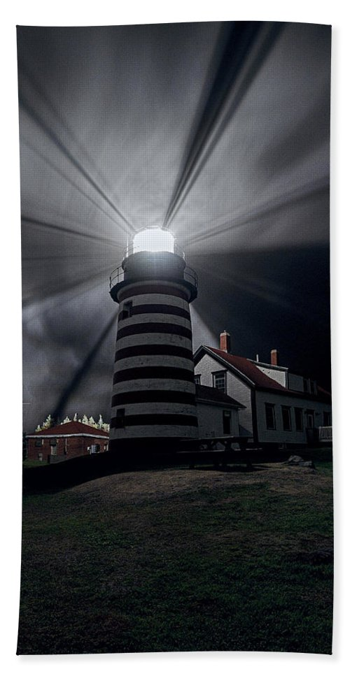 West Quoddy Head Lighthouse Hand Towel featuring the photograph West Quoddy Head Lighthouse History And Facts by Marty Saccone