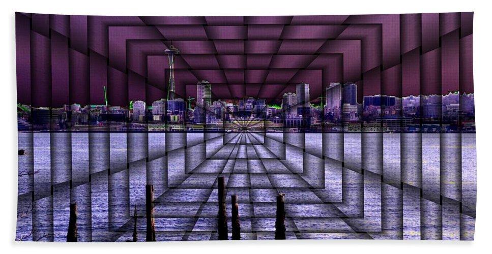 Seattlel Bath Sheet featuring the digital art West Seattle Vortex by Tim Allen