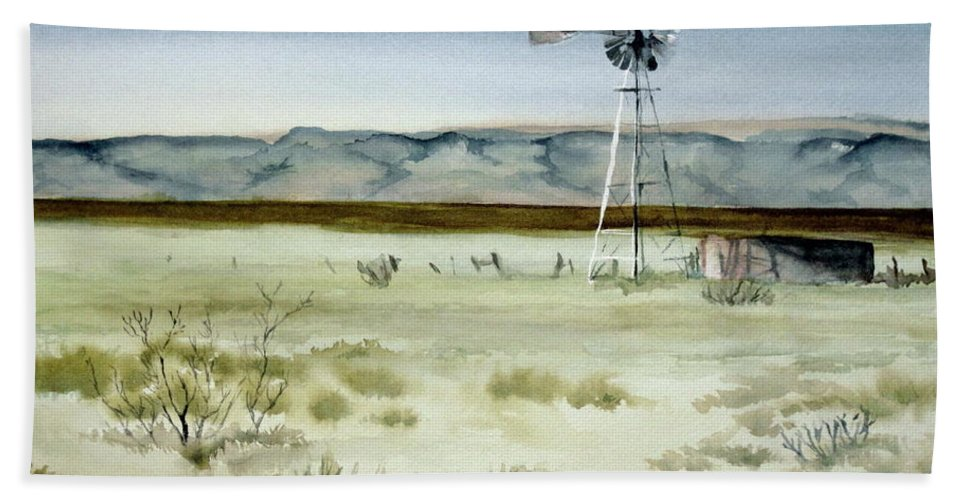 Windmill Bath Sheet featuring the painting West Texas Windmill by Karen Boudreaux