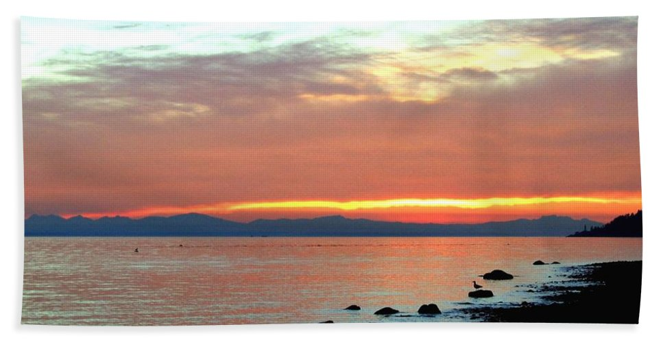 Sunset Bath Sheet featuring the photograph West Vancouver Sunset by Will Borden
