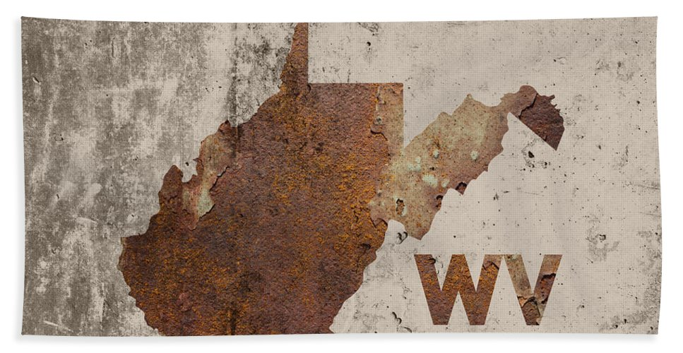 West Virginia Bath Towel featuring the mixed media West Virginia State Map Industrial Rusted Metal On Cement Wall With Founding Date Series 014 by Design Turnpike