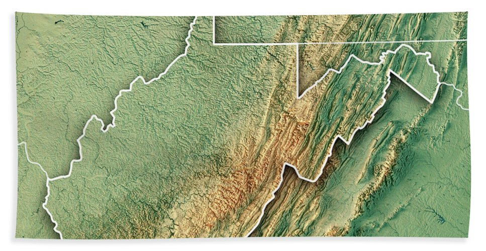 West Virginia State Usa 3d Render Topographic Map Bath Towel For