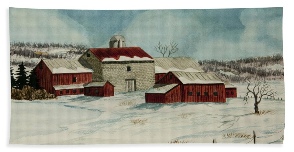 Winter Scene Paintings Bath Sheet featuring the painting West Winfield Farm by Charlotte Blanchard
