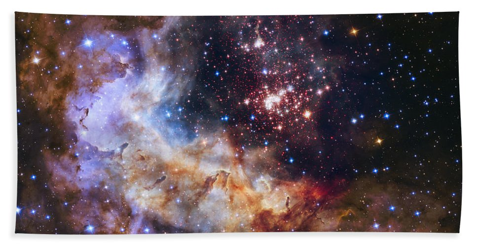 3scape Bath Towel featuring the photograph Westerlund 2 - Hubble 25th Anniversary Image by Adam Romanowicz