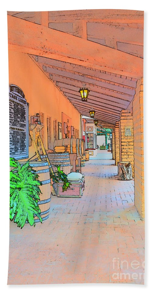Barrel Hand Towel featuring the photograph Western Alley Drawing 1 by Korynn Neil