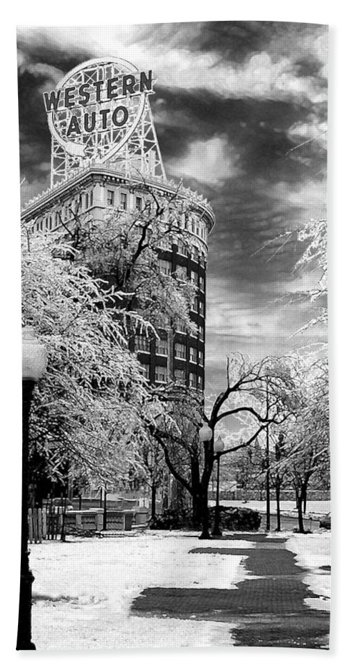 Western Auto Kansas City Hand Towel featuring the photograph Western Auto In Winter by Steve Karol