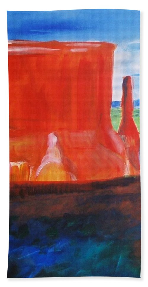 Western Hand Towel featuring the painting Western Canyon by Eric Schiabor