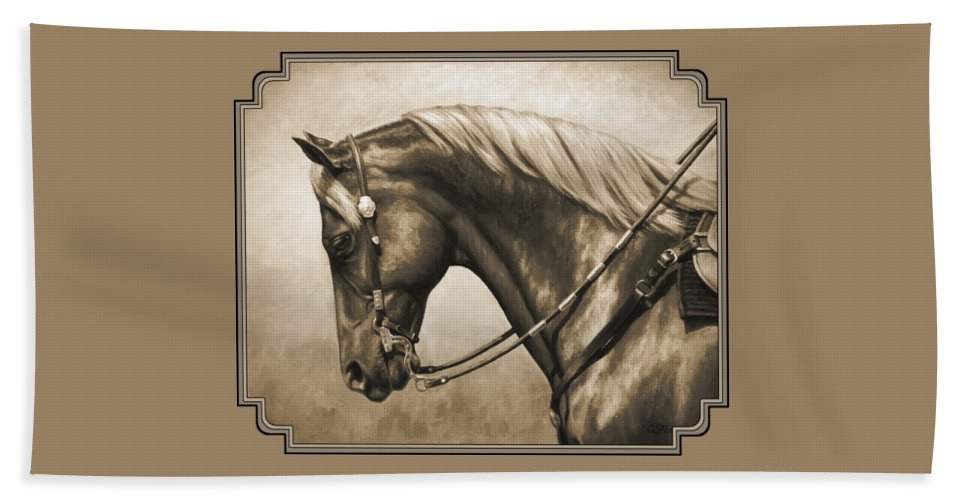 Horse Bath Towel featuring the painting Western Horse Painting In Sepia by Crista Forest