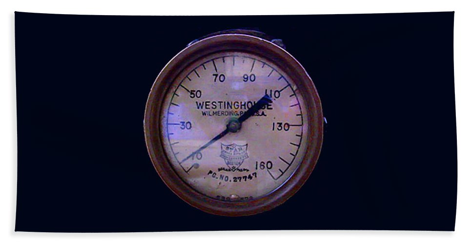Pat Turner Bath Sheet featuring the photograph Westinghouse Steam Gauge by Pat Turner