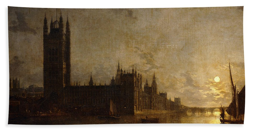 Thames Hand Towel featuring the painting Westminster Abbey, The Houses Of Parliament With The Construction Of Westminster Bridge by Henry Pether