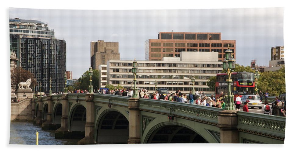 Westminster Hand Towel featuring the photograph Westminster Bridge. by Christopher Rowlands