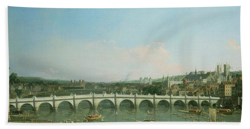 Canaletto Hand Towel featuring the painting Westminster Bridge From The North With Lambeth Palace In Distance by Canaletto
