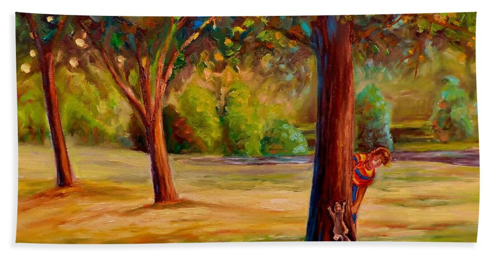 Montreal Hand Towel featuring the painting Westmount Park Montreal by Carole Spandau