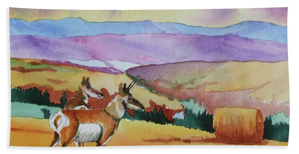 Westriver Bath Sheet featuring the painting Westriver Pronghorn by James Heroux