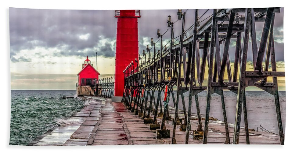 Great Lakes Hand Towel featuring the photograph Wet At Grand Haven by Nick Zelinsky