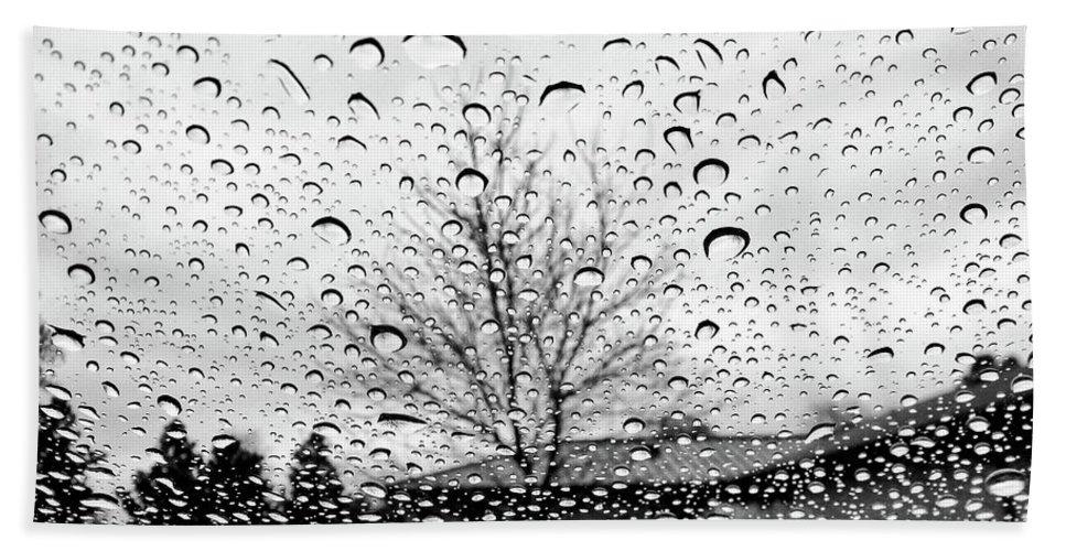 Raindrops On Car Window Bath Sheet featuring the photograph Wet Car Window B by John Myers