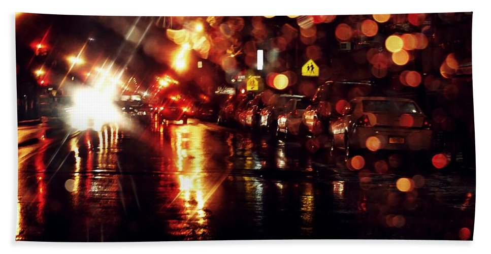 City Hand Towel featuring the photograph Wet City 3 by Sarah Loft