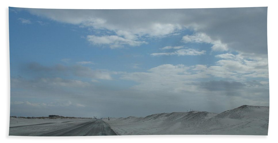 Sand Hand Towel featuring the photograph Wet Sand On Pensacola Beach Road by Christiane Schulze Art And Photography