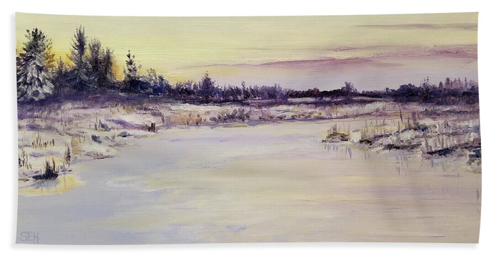 Oil Hand Towel featuring the painting Wetland Winter by Susan Hanna