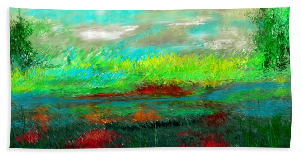 Nature Hand Towel featuring the digital art Wetlands by David Lane