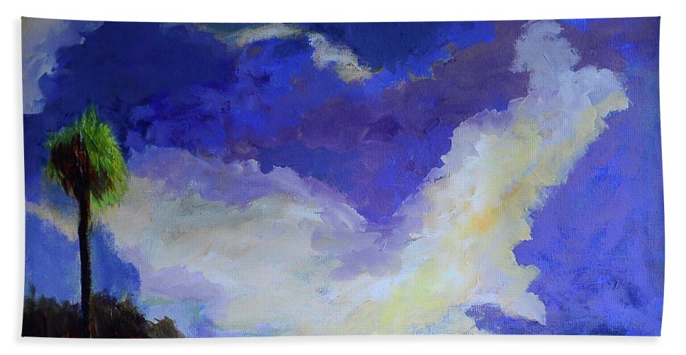 Art Bath Towel featuring the painting Wetlands Sky by Julianne Felton