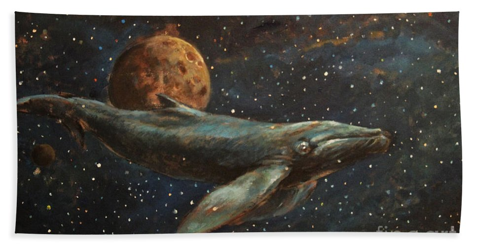 Whale Of The Universe Hand Towel featuring the painting Whale Of The Universe by Michal Kwarciak