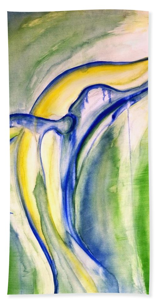 Watercolor Bath Sheet featuring the painting Whale by Sheridan Furrer