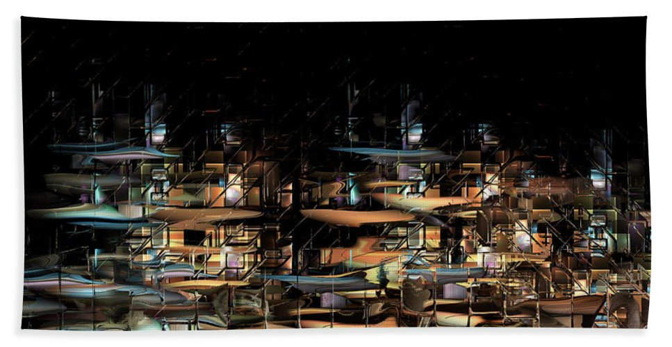 Philsh Hand Towel featuring the digital art Wharves by Phil Sadler