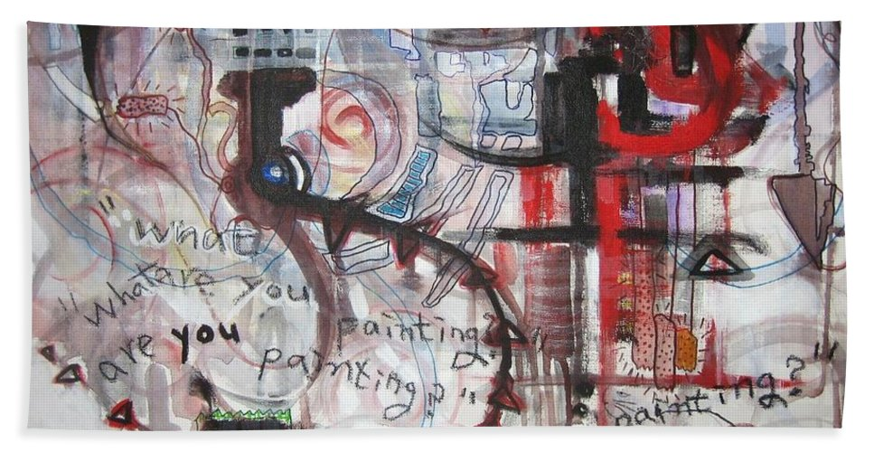 Abstract Paintings Bath Towel featuring the painting What Are You Painting-red And Brown Painting by Seon-Jeong Kim