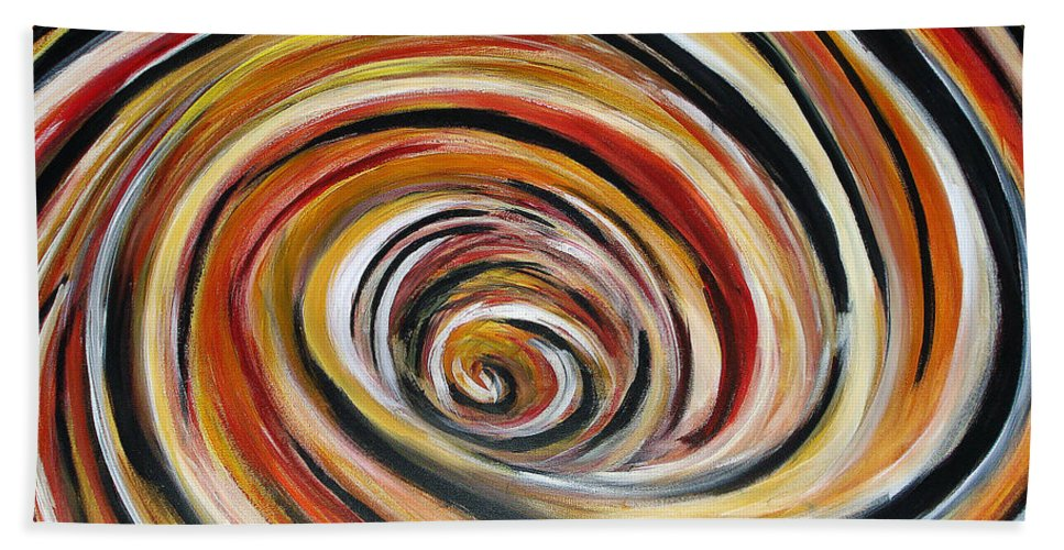 Circle Geometric Shape Abstract Bath Sheet featuring the painting What Goes Around Comes Around by Yael VanGruber