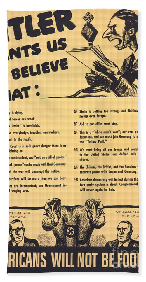 what Hitler wants us to believe World War 2 poster Americans will not be  fooled Hand Towel