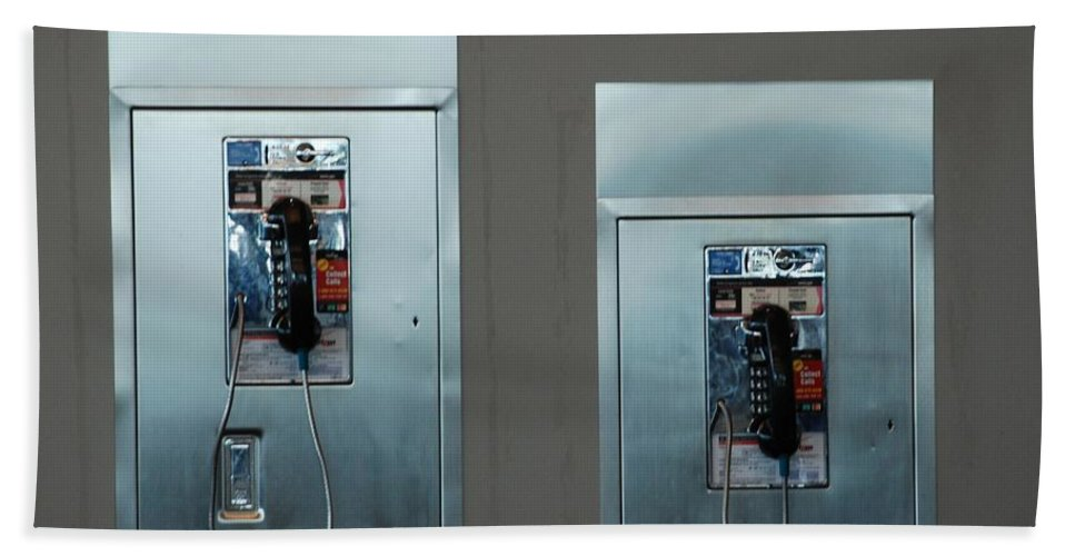 Pay Phones Hand Towel featuring the photograph What Is That Dad .... Why It Is A Pay Phone Son by Rob Hans