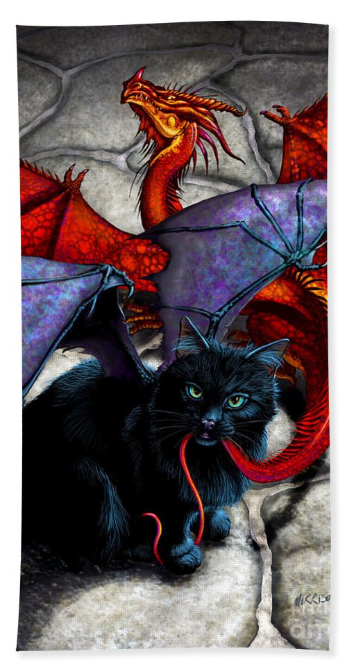 Fantasy Hand Towel featuring the digital art What The Catabat Dragged In by Stanley Morrison