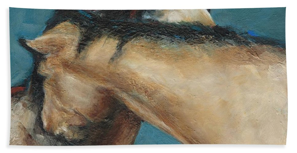 Horses Hand Towel featuring the painting What We Can All Use A Little Of by Frances Marino