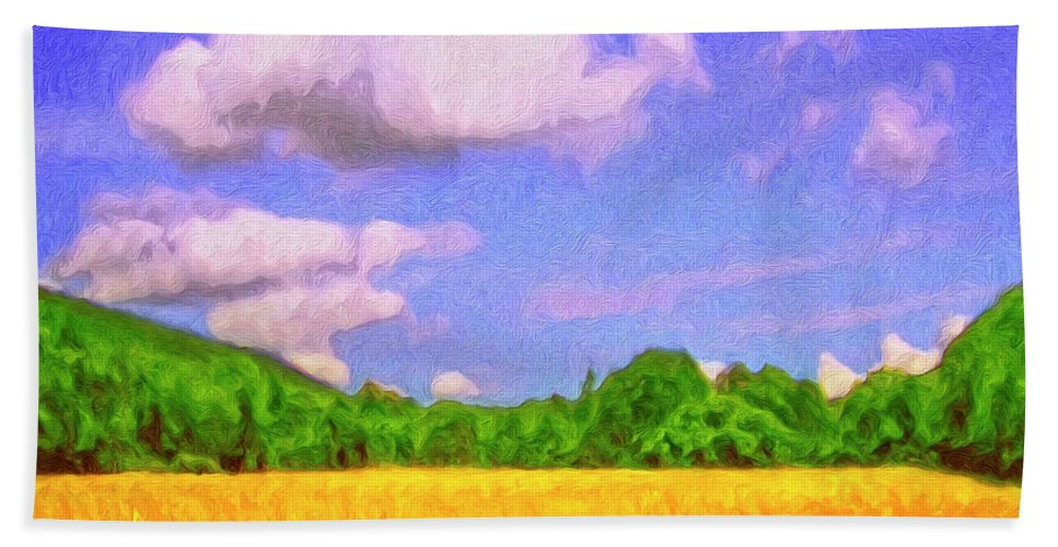 Wheat Field Hand Towel featuring the painting Wheat Field by Dominic Piperata