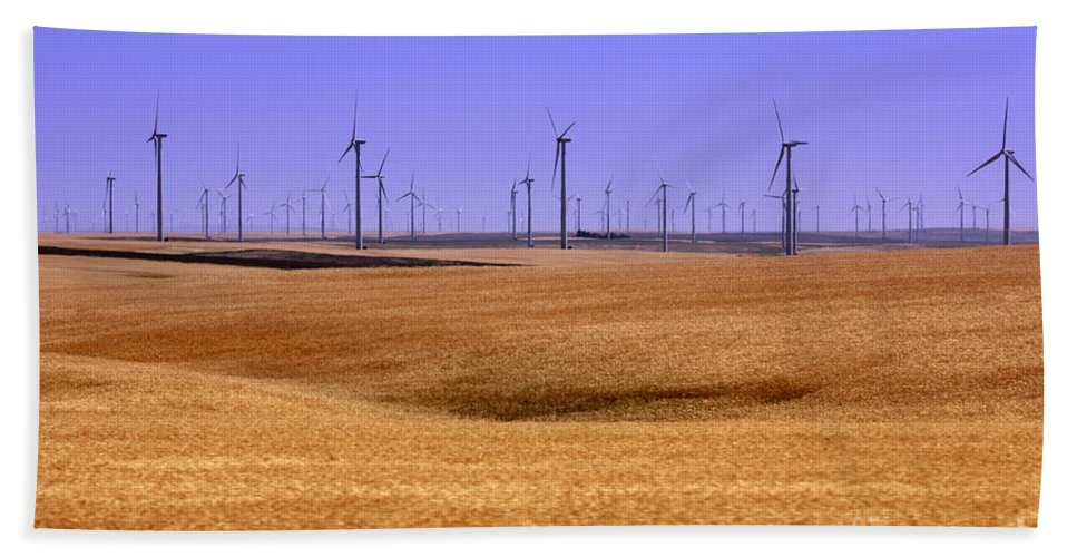 Wind Turbines Hand Towel featuring the photograph Wheat Fields And Wind Turbines by Carol Groenen