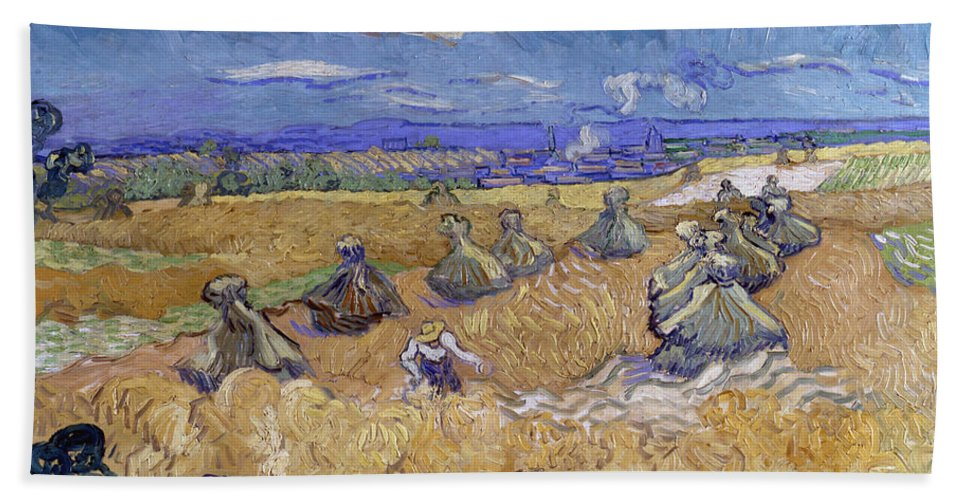 Clouds Hand Towel featuring the painting Wheat Fields With Reaper, Auvers by Vincent van Gogh