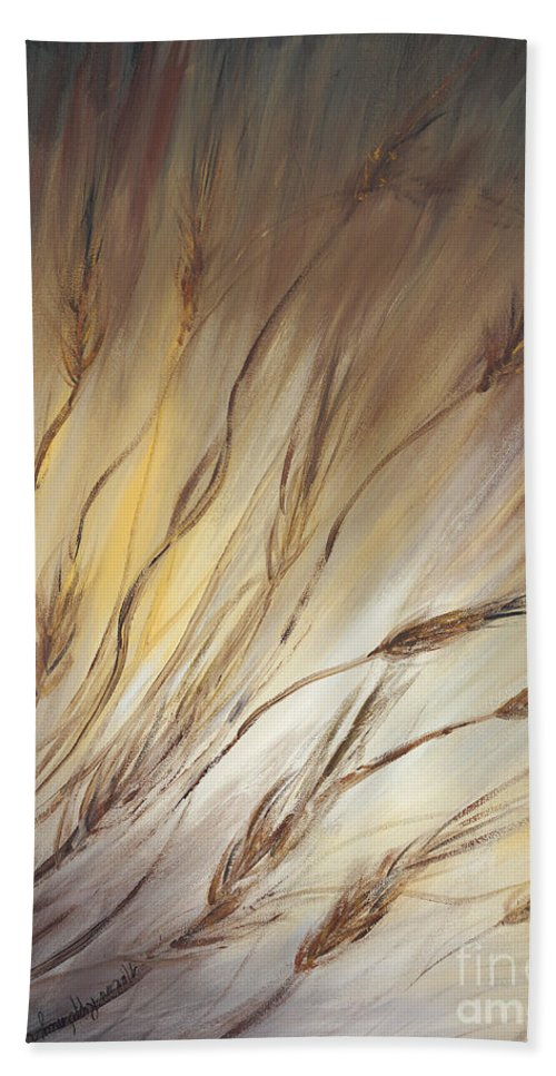 Wheat Hand Towel featuring the painting Wheat In The Wind by Nadine Rippelmeyer