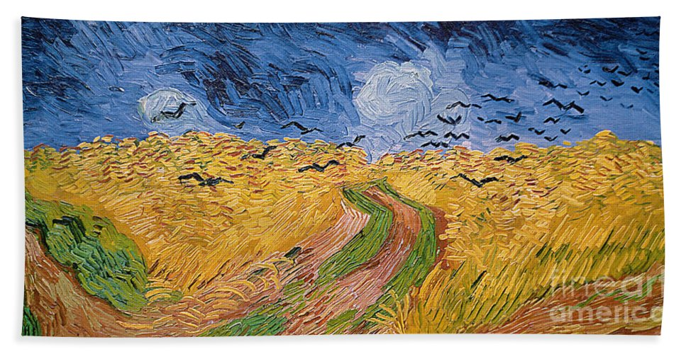 Landscape;post-impressionist; Summer; Wheat; Field; Birds; Threatening; Sky; Cloud; Post-impressionism Bath Towel featuring the painting Wheatfield With Crows by Vincent van Gogh