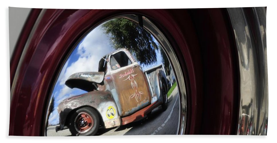 Old Truck Hand Towel featuring the photograph Wheel Reflections by David Lee Thompson