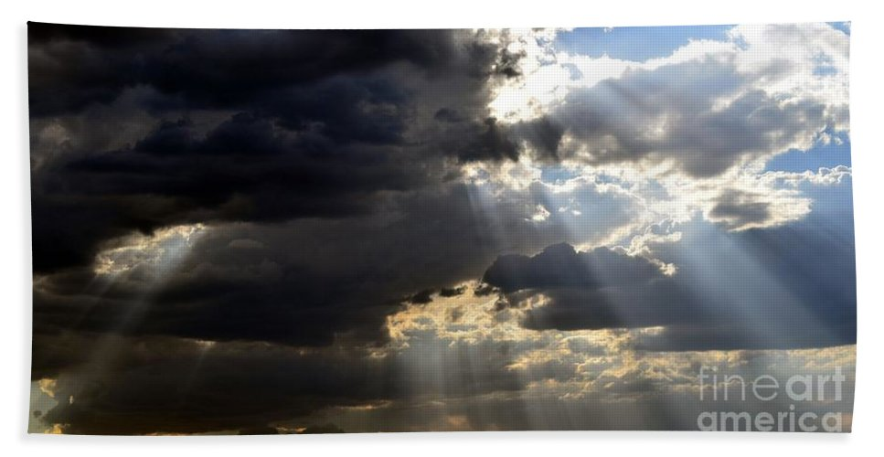 Arizona Bath Sheet featuring the photograph When All Seems Dark by Janet Marie