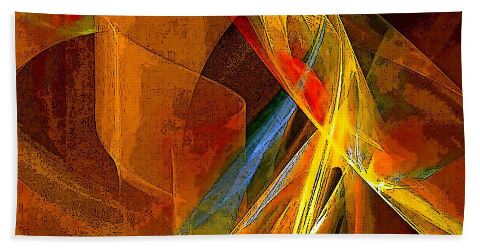 Abstract Bath Sheet featuring the digital art When Paths Cross by Ruth Palmer