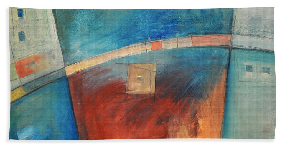 Abstract Bath Sheet featuring the painting When Pigs Fly by Tim Nyberg