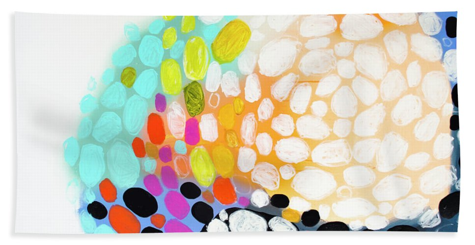 Abstract Hand Towel featuring the painting When You Get Home by Claire Desjardins
