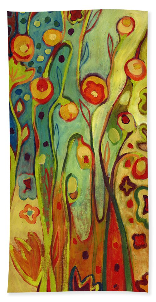 Floral Bath Towel featuring the painting Where Does Your Garden Grow by Jennifer Lommers