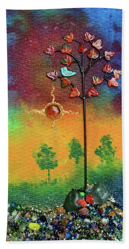 Mixed Media Landscape Bath Towel featuring the mixed media Where Fireflies Gather by Donna Blackhall