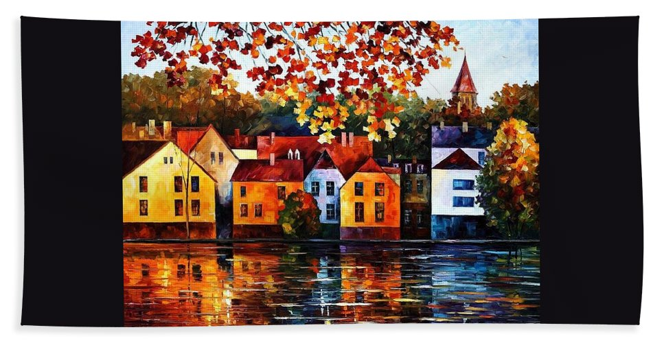 Afremov Hand Towel featuring the painting Where I Grew Up by Leonid Afremov