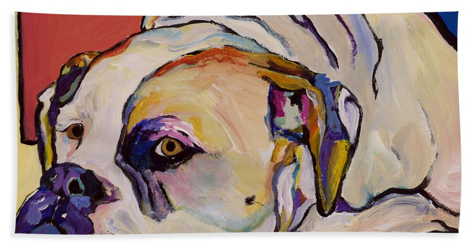 American Bulldog Bath Towel featuring the painting Where Is My Dinner by Pat Saunders-White